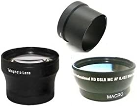 Wide + Tele Lens + Tube bundle for Panasonic DMC-FZ18, Panasonic DMC-FZ28, Panasonic DMC-FZ35, Panasonic DMC-FZ38