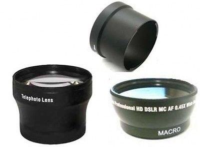 Weites + Tele-Objektiv + Tube Adapter Bundle für Sony Cybershot DSC-V3, Sony DSCV3 Kamera