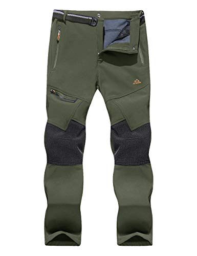 EKLENTSON Mens Hiking Pants Stretch Winter Softshell Fleece-Lined Cargo Pants Outdoor Pants Men Big and Tall Men Pants Army Green