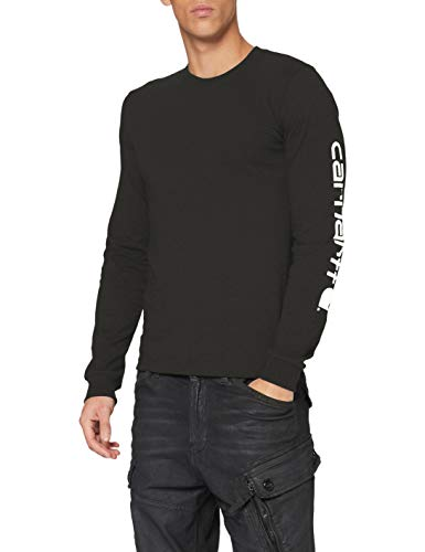 Carhartt Signature Logo Long-Sleeve T-Shirt, Peat, L Uomo