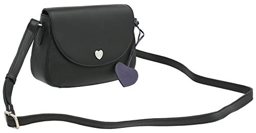Mala Leather Anishka Collection Small Leather Shoulder Bag 7201_75 Black