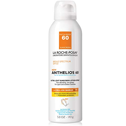 La Roche-Posay Anthelios Ultra-Light Sunscreen Lotion Spray Broad Spectrum SPF 60, Alcohol-Free, Oil-Free, Water Resistant, 5 Fl. Oz.