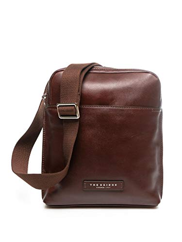 The Bridge Borsa Borsello Tracolla Regolabile Shoulder Bag pelle leather made in Italy uomo man 28X23X4 Cm 45300844 -Marrone