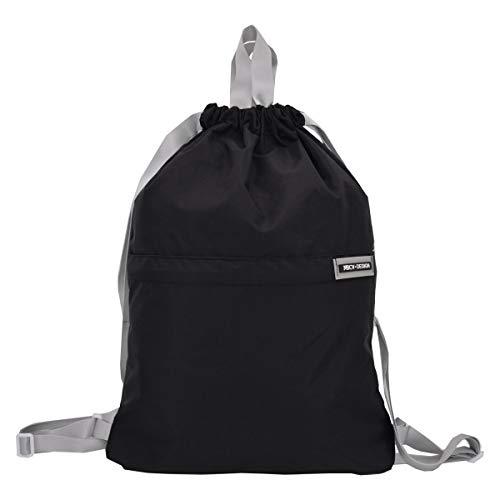Micv ナップサック スポーツバッグ ジムサック 折りたたみ 防水仕様 巾着袋 軽量 通学・運動・旅行に最適 アウトドア 収納バッグ 男女兼用 (ブラック)