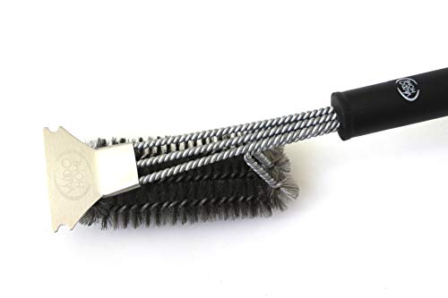 Valdohome Heavy Duty BBQ Grill Stainless Steel Cleaning Brush with Built in Scraper - Large Triple - Headed Great for All Smoker and Grill Grates - Strong Tough Durable - Great for All Griddles