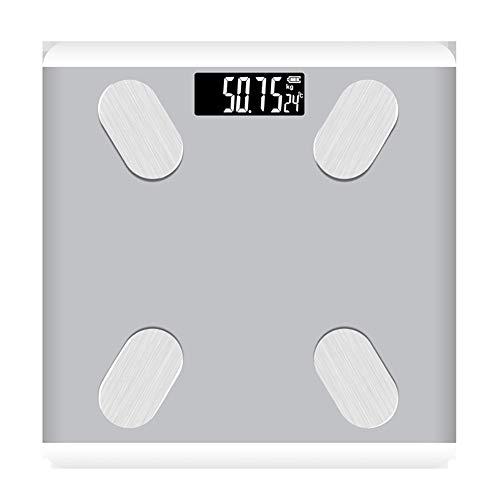 LHDZC Escala Inteligente de Grasa Corporal, Escala electrónica Que Mide la Escala de Peso de Grasa, comprensión de los Datos de Salud Corporal, máquina de Cambio automático-White