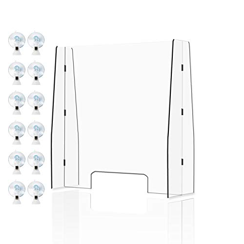 Portable Sneeze Guard 30'T x 25'W Freestanding Clear Acrylic Protective Shield with Pass Through Transaction Window for Desk,Counter,Reception,Checkout,Store   12 PCS Suction Cup Clip