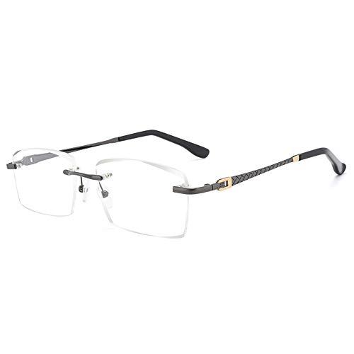 Y&J Leesbril zonder frame, vuurvaste kristallens, sterke anti-krassen, titanium tempel, kunst en wijsmannetjes-lezer