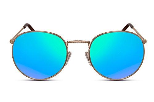 Cheapass Sonnenbrille Verspiegelt Rund-e Brille Gold Grün-Blau UV-400 Metall Festival Damen Herren