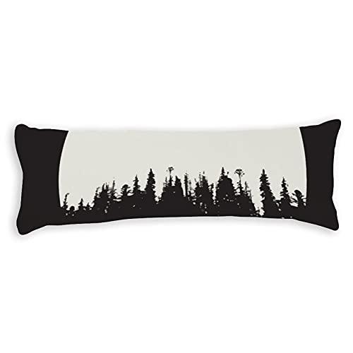 Funda de almohada de algodón de 6 pies 180 cm con cremallera, funda de almohada de cuerpo forestal, funda de almohada decorativa floral para cama para niños para adultos y niñas