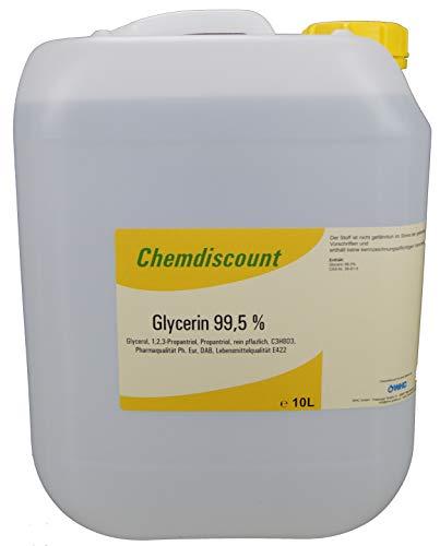 10Liter Glycerin 99,5{e227ad7115d1c60248c4898933b35cf79f70a734db8c7eeb7a29f025e968ea65} rein pflanzlich entpricht PH. EUR. und DAB Lebensmittelqualität E422, vegetable Glyzerin