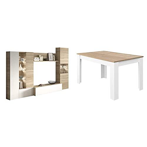 Habitdesign Mueble de Comedor con Leds, Mueble Salon, Modelo Essential + Mesa de Comedor Extensible, Mesa salón o Cocina, Acabado en Color Blanco Artik y Roble Canadian