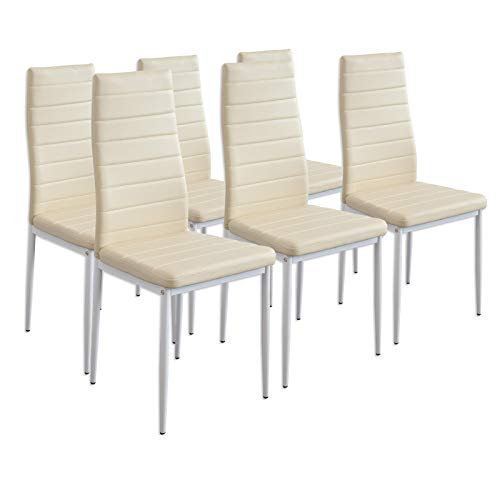 Albatros Esszimmerstühle MILANO, 6er-Set, Beige, SGS geprüft
