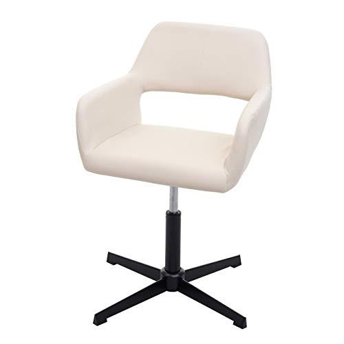 Mendler Homeoffice-Bürostuhl HWC-A50 IV, Wohnraum-Schreibtischstuhl + Esszimmerstuhl - Kunstleder Creme, Fuß schwarz