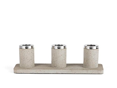 Zilverstad Kandelaar Solido, 3-branders, beton, grijs, 24 x 7,7 x 7,2 cm