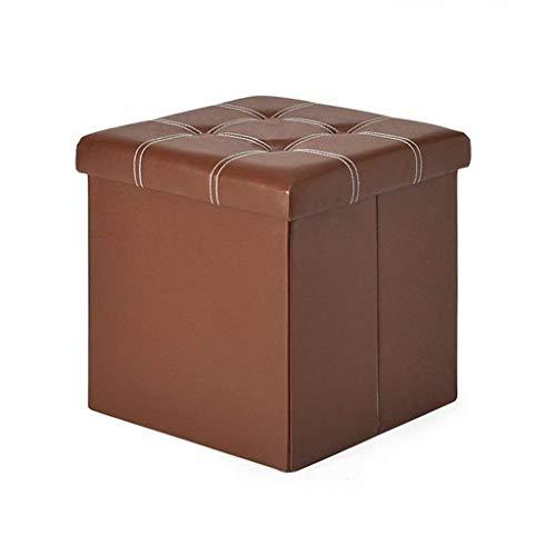 ykw Klappbarer Fußhocker Klappbarer Aufbewahrungsbox Cube Pouffe Chair Square mit Deckel und Kunstlederstütze
