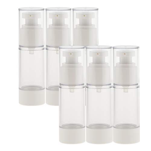 Milageto 6 botes de spray para nebulización Airless al vacío atomizador de perfume reutilizables, 15/30 ml, color blanco, 30 ml
