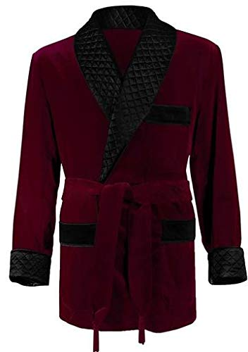 Regency New York Men's Smoking Jacket (Large, Burgundy)