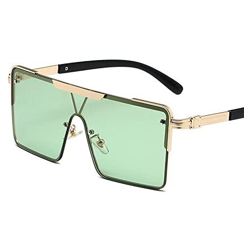 XINMAN Gafas De Sol De Montura Grande De Moda, Una Pieza De Metal, Gafas De Sol Salvajes, Gafas De Protección Solar De Moda para Disparar En La Calle, Película Verde con Marco Dorado