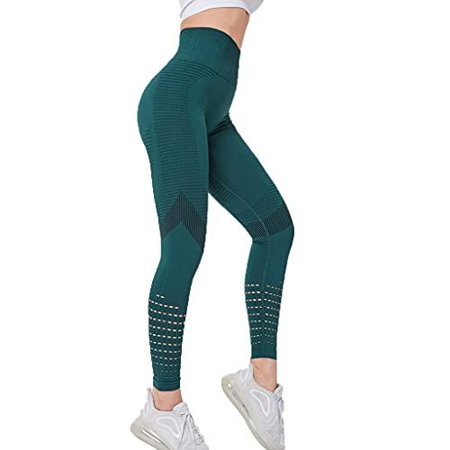 YUDIZWS Yoga Leggings Push Up Pantalones Deportivos Elásticos Costura Sin Leggins Mujer Fitness Gimnasio para Running Deporte Y Transpirables (Color : Green, Size : Large)