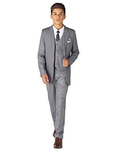 Paisley of London, Traje gris para niños, traje de ajuste delgado, traje para niño de página, traje de baile para niños, 12 – 18 meses – 14 años