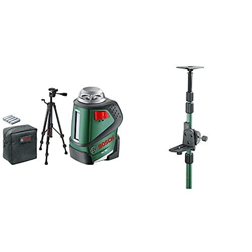 Bosch PLL 360Nivel Láser 360º con Trípode, Set (Trípode) + TP 320Barra telescópica 3,20 m (bolsa, pinza de sujeción para la herramienta)