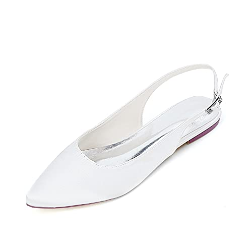 GGBLCS Bailarinas De Boda Mujer De Satén Punta Puntiaguda Slingback Planos Zapatos...
