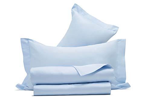 Juego de sábanas de raso de puro algodón, fabricado en Italia (matrimonio, azul)