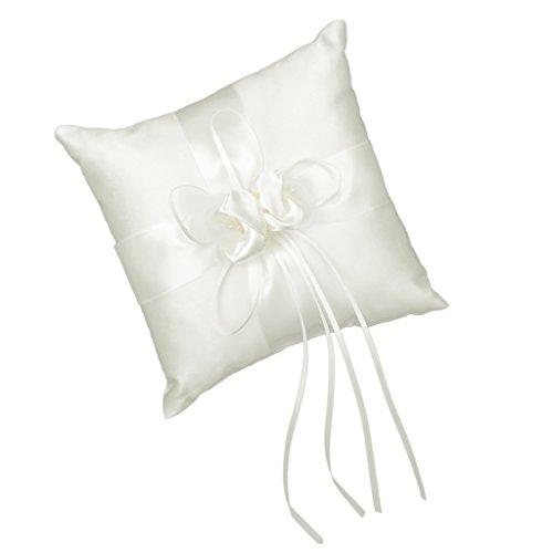 Cuscino porta fedi per matrimonio, 20x 20cm, colore: Avorio crema