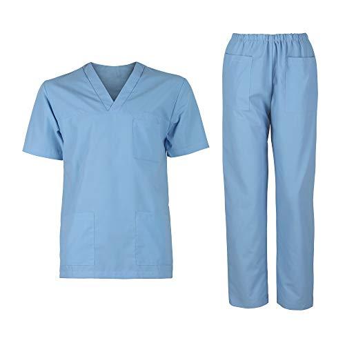 DINOZAVR M3 Herren Damen Kasacks Arbeitshose Pflege Unisex-Schrubb-Set Uniform Schlupfkasack Kurzarm Oberteil mit Hose medizinisches Hellblau XL