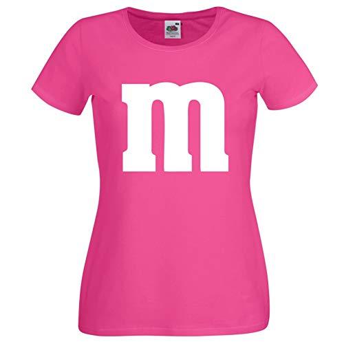 Nation Mädchen T-Shirt Rundhals Karneval & Fasching JGA - Gruppen-Kostüm M Aufdruck - MM (164, Pink)