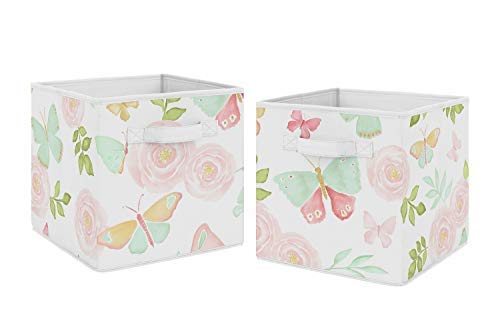 Sweet Jojo Designs Blush Pink, Mint and White Watercolor Rose Organizer Storage Bins for Butterfly Floral Collection - Set of 2