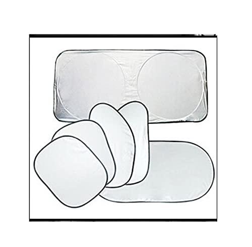 XDRE Parasol Coche 6pc Silver Car Frontal Lateral Trasero Ventana Sombra Sun Sun Sun Visor Visor Portero Bloque de Nieve Pantalla Protector Protector Sombrilla Cortina de Malla para Coche