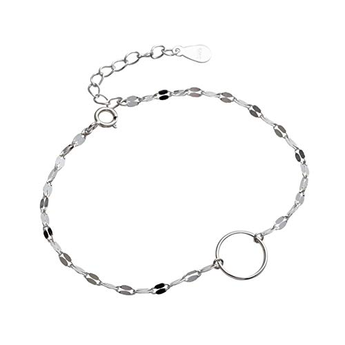LQHXY Geometrisches Rundes Paillettenarmband Ganzkörper S925 Sterling Silber Laser Box Damen Armband