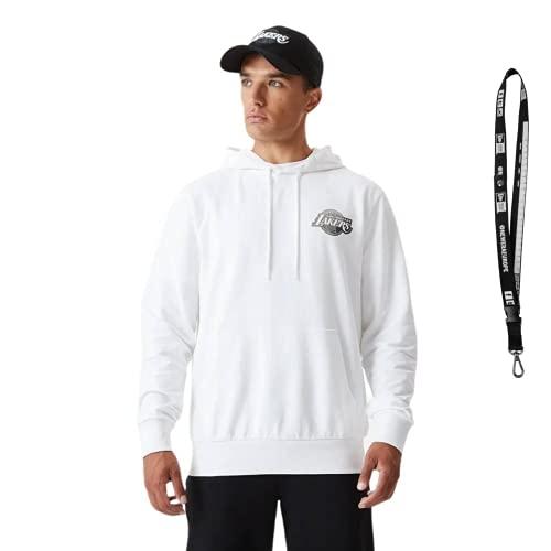 New Era Sudadera con capucha, diseño de la NFL MLB NBA Lakers White L