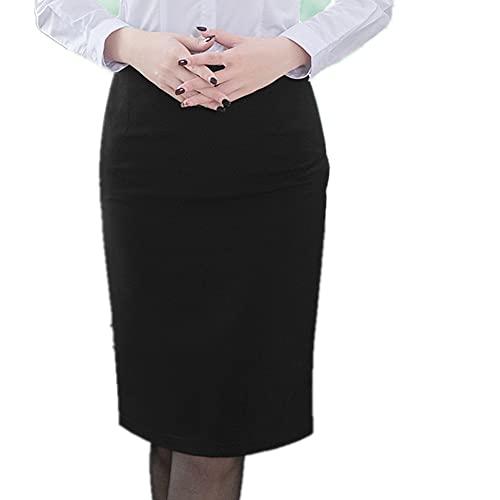 Elegante falda lápiz de mujer estilo coreano más tamaño cintura alta, Negro, 34