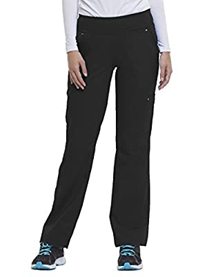 "Purple Label by Healing Hands Scrubs Yoga Women's""Tori"" 9133 5 Pocket Knit Waist Pant Black- Small Petite"