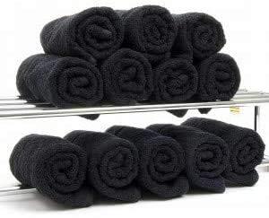 Arcoiris Toallas de Ducha, Toallas de Mano, 100% Algodón, 2 Unidades de 50 x 90 CM, Toalla Ducha baño (50x90CM, Negro)