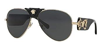Versace VE2150Q 100287 62M Gold/Grey Pilot Sunglasses For Men For Women+FREE Complimentary Eyewear Care Kit