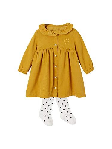 VERTBAUDET Mädchen Baby-Set: Kleid und Strumpfhose senfgelb 62