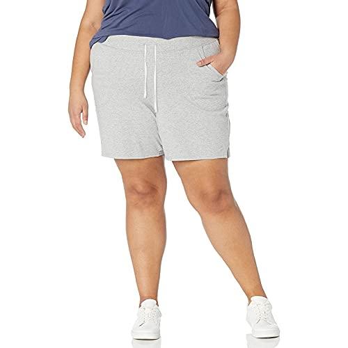 FMYONF Pantalones cortos elásticos de yoga para mujer, talla grande, pantalones cortos de cintura alta, pantalones cortos elásticos con cordón, gris, XXXL