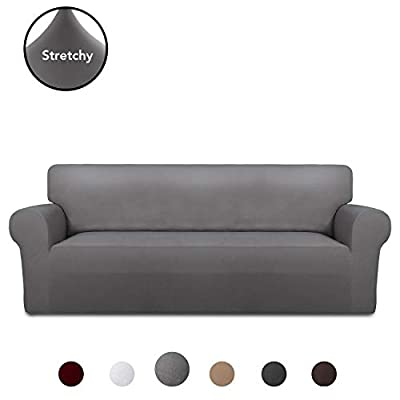 PureFit Super Stretch Chair Sofa Slipcover – Spandex Non Slip Soft Couch Sofa Cover, Washable Furniture Protector with Non Skid Foam and Elastic Bottom for Kids, Pets ?Oversized Sofa, Light Gray