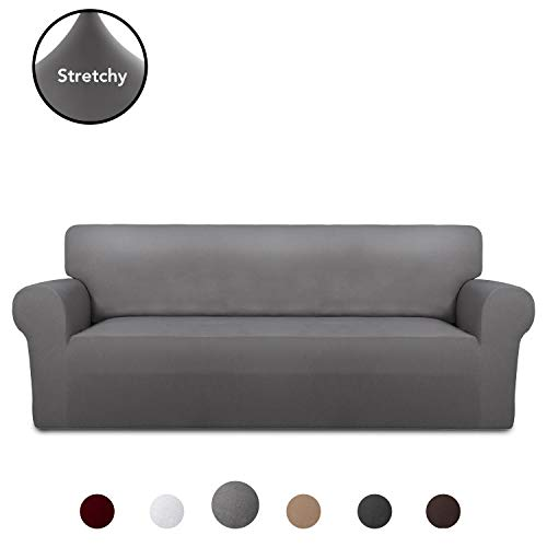 PureFit Super Stretch Chair Sofa Slipcover – Spandex Non Slip Soft Couch Sofa Cover, Washable Furniture Protector with Non Skid Foam and Elastic Bottom for Kids, Pets (Sofa, Light Gray)