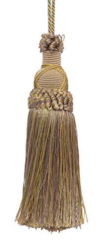 DÉCOPRO Decorative 14cm Key Tassel, Lt Olive Green, Lt Gold Imperial II Collection Style# KTIC Color: Winter Prairie - 2935