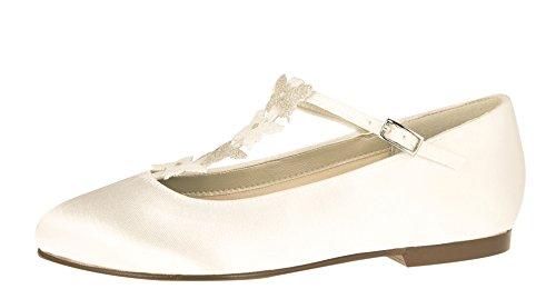 Rainbow Club Blumen-Mädchen Schuhe Flach Kady - Ivory Satin Glitzer - Ballerinas Größe 33.5 EU 1 UK