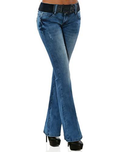 Damen Boot-Cut Jeans Hose mit Gürtel DA 16040 Farbe Blau Größe XL / 42