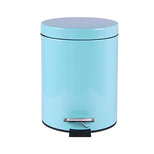 LINA Poubelle 5L / 7L / 12L de Poubelle de récipient à ordures en Cuir de Double Couche (Couleur : Bleu, Taille : 5L)