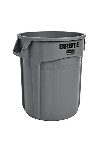 Rubbermaid Commercial Products FG261000GRAY Brute Heavy-Duty Round Trash/Garbage Can, 10-Gallon, Gray