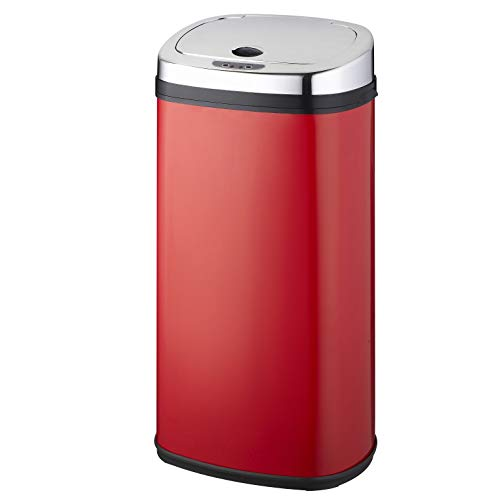 Poubelle de cuisine automatique 42L LARGO Rouge brillant en acier INOX avec cerclage