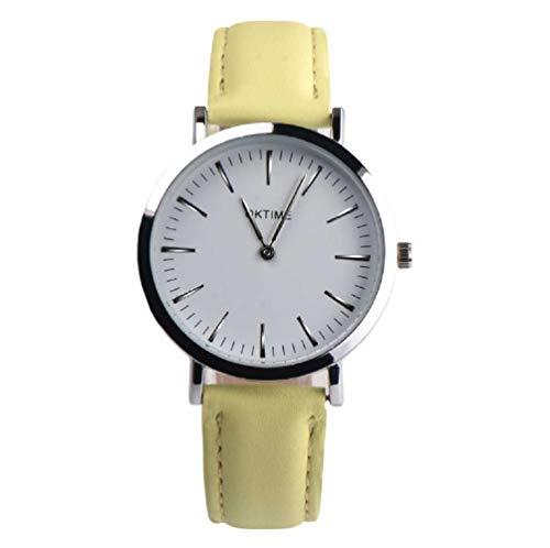 Pulsera de podómetro, WSSVAN Sencillo reloj analógico de cuarzo para damas nuevo y fresco sin reloj clásico de cuero para dama reloj de negocios (Amarillo)